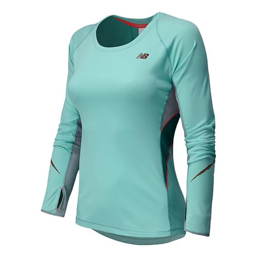 Womens New Balance NB Ice Long Sleeve No Zip Technical Tops - Glacier XXL