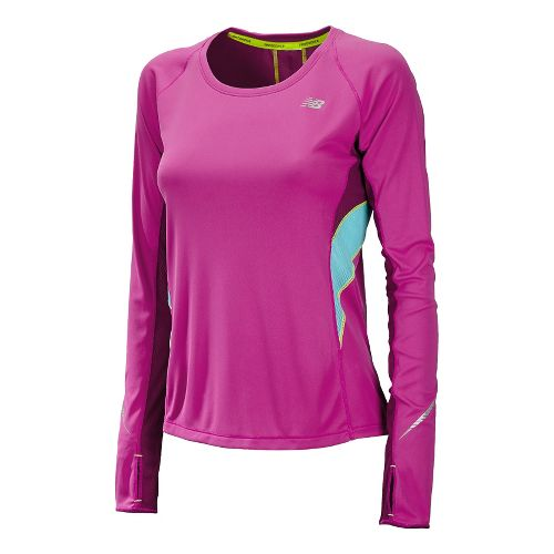 Womens New Balance NB Ice Long Sleeve No Zip Technical Tops - Poisonberry S