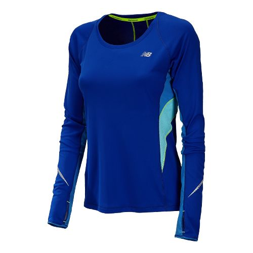 Womens New Balance NB Ice Long Sleeve No Zip Technical Tops - UV Blue L ...