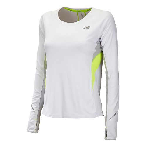 Womens New Balance NB Ice Long Sleeve No Zip Technical Tops - White M