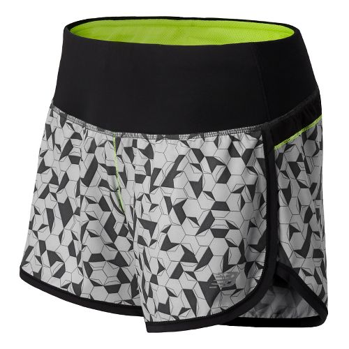 Womens New Balance Impact 4 Printed Splits Shorts - Solar Yellow XXL