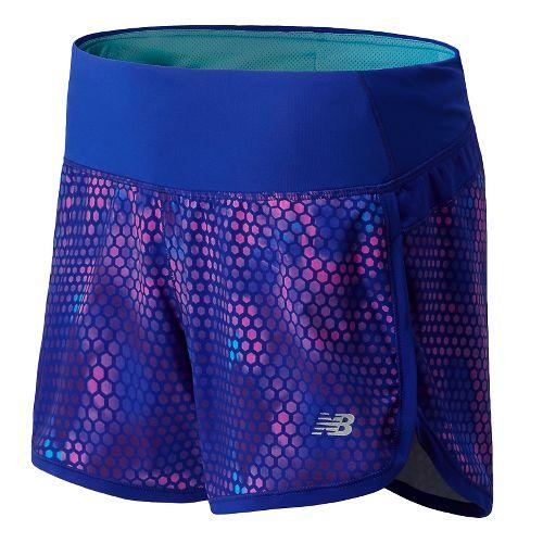 Womens New Balance Impact 4 Printed Splits Shorts - UV Blue M