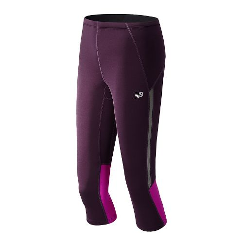 Womens New Balance Impact Capri Tights - Black Grape XS