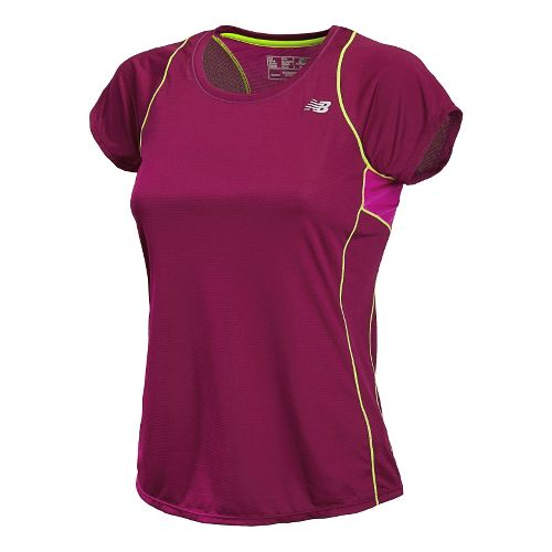 Womens New Balance Accelerate Short Sleeve Technical Tops - Mullberry XXL