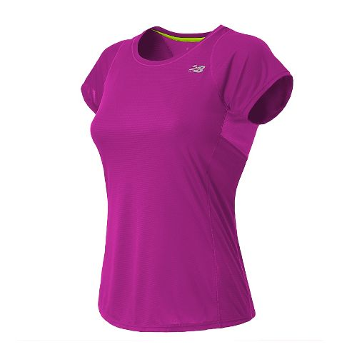 Womens New Balance Accelerate Short Sleeve Technical Tops - Poisonberry L
