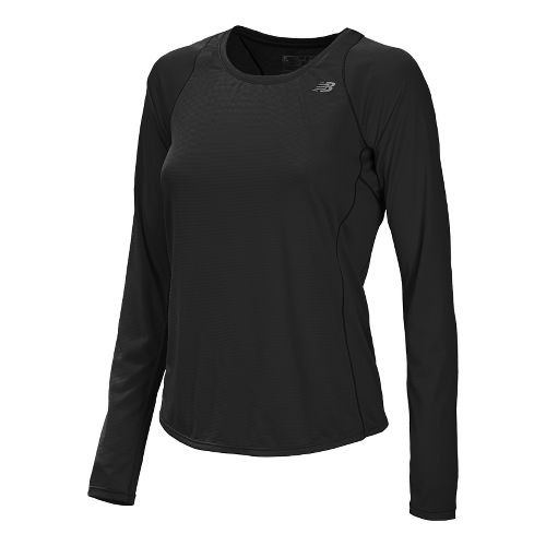 Womens New Balance Accelerate Long Sleeve No Zip Technical Tops - Black M