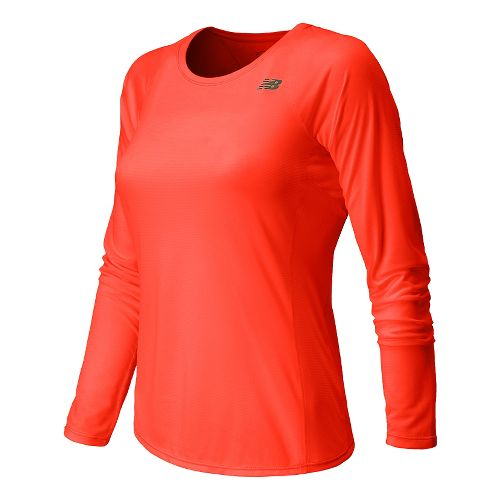 Womens New Balance Accelerate Long Sleeve No Zip Technical Tops - Dragonfly XS