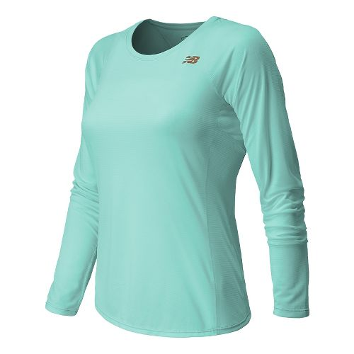 Womens New Balance Accelerate Long Sleeve No Zip Technical Top - Glacier XS