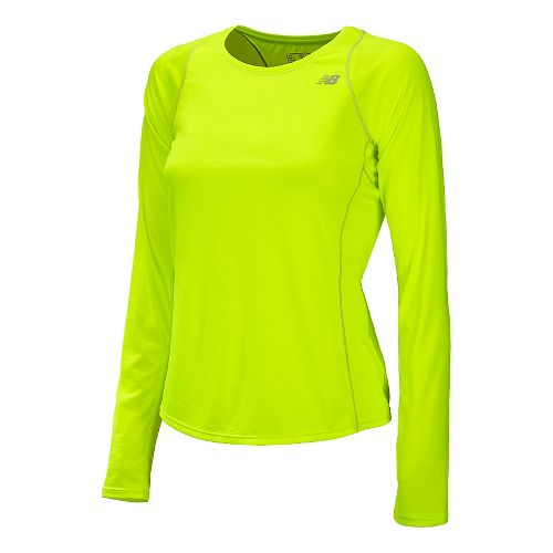 Womens New Balance Accelerate Long Sleeve No Zip Technical Tops - Hi-Lite XS