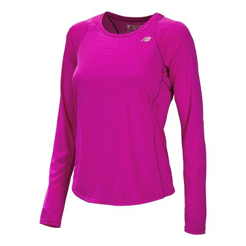 Womens New Balance Accelerate Long Sleeve No Zip Technical Top - Poisonberry XS