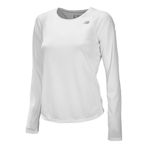Womens New Balance Accelerate Long Sleeve No Zip Technical Tops - White M