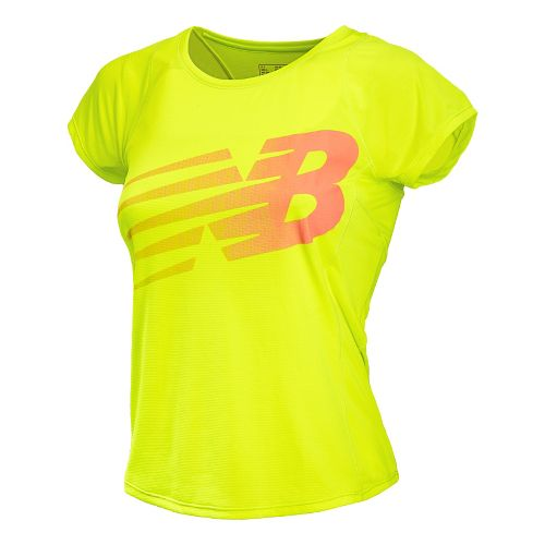 Womens New Balance Accelerate Graphic Short Sleeve Technical Tops - Hi-Lite L