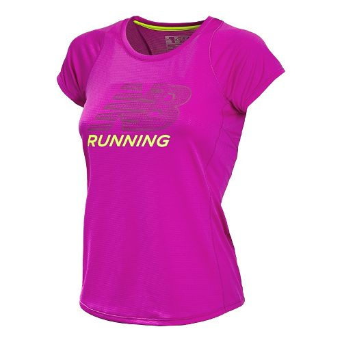 Womens New Balance Accelerate Graphic Short Sleeve Technical Tops - Poisonberry L
