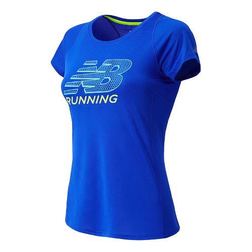 Womens New Balance Accelerate Graphic Short Sleeve Technical Tops - UV Blue XS