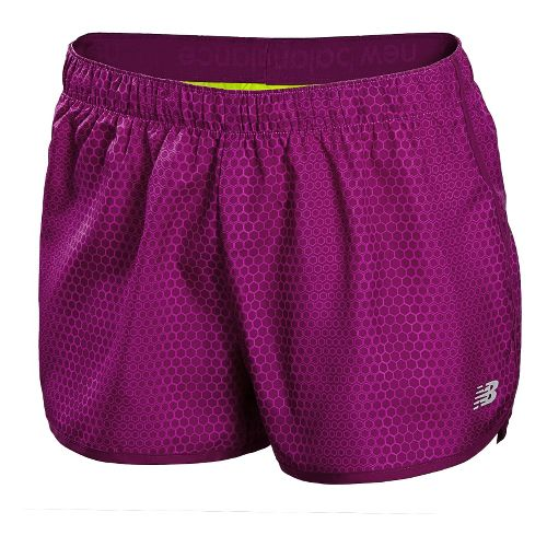 Womens New Balance Accelerate Printed Unlined Shorts - Poisonberry XL