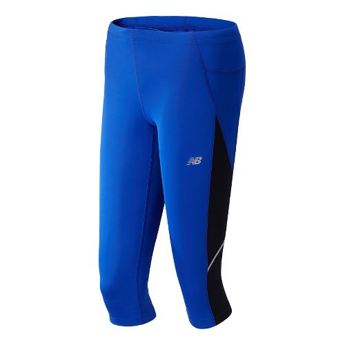 Womens New Balance Go 2 Capri Tights - UV Blue XS
