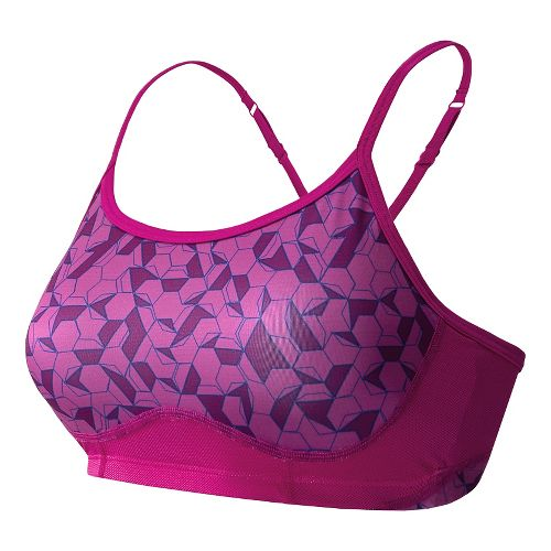 Womens New Balance Printed Tenderly Obsessive Sports Bras - Poisonberry Print L