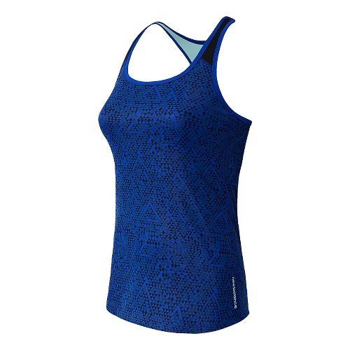 Womens New Balance Get Back Racerback Sports Bras - UV Blue M