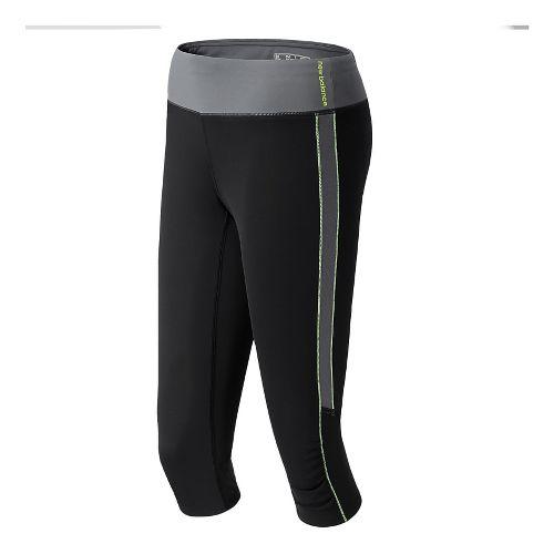 Womens New Balance Vitalize Capri Tights - Black/Grey L
