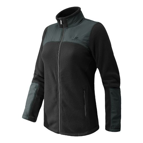 Womens New Balance Essentials Micro Fleece Full Zip Warm-Up Unhooded Jackets - Black M