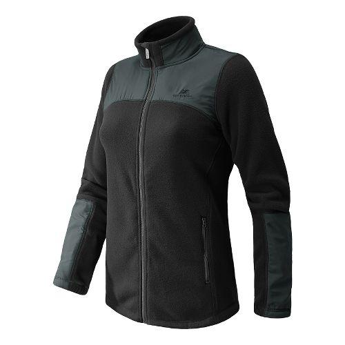 Womens New Balance Essentials Micro Fleece Full Zip Warm-Up Unhooded Jackets - Black XXL
