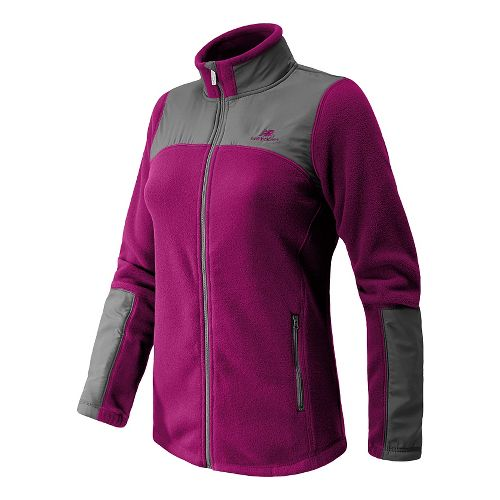 Womens New Balance Essentials Micro Fleece Full Zip Warm-Up Unhooded Jackets - Mullberry L