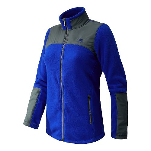 Womens New Balance Essentials Micro Fleece Full Zip Warm-Up Unhooded Jackets - UV Blue L ...