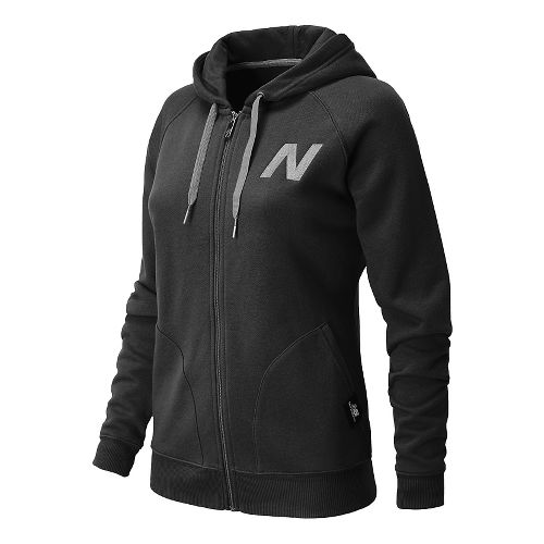 Womens New Balance Essentials Full Zip Hoodie Warm-Up Hooded Jackets - Black L