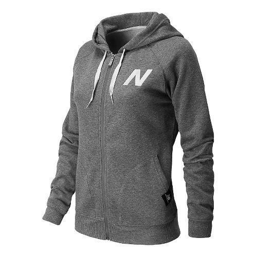 Womens New Balance Essentials Full Zip Hoodie Warm-Up Hooded Jackets - Heather Grey L