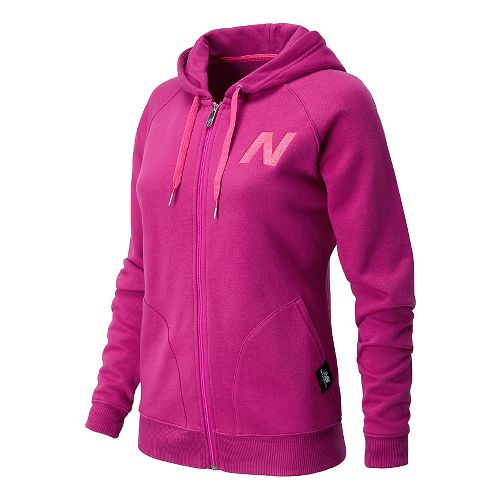 Womens New Balance Essentials Full Zip Hoodie Warm-Up Hooded Jackets - Poisonberry XS