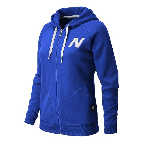 Womens New Balance Essentials Full Zip Hoodie Warm-Up Hooded Jackets - UV Blue XS