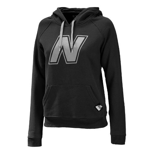 Womens New Balance Essentials Pullover Hoodie Warm-Up Hooded Jackets - Black L