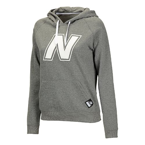 Womens New Balance Essentials Pullover Hoodie Warm-Up Hooded Jackets - Heather Grey L