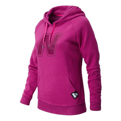 Womens New Balance Essentials Pullover Hoodie Warm-Up Hooded Jackets - Poisonberry M