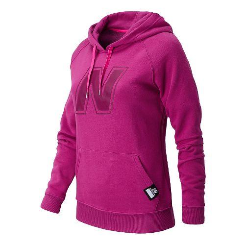 Womens New Balance Essentials Pullover Hoodie Warm-Up Hooded Jackets - Poisonberry XL
