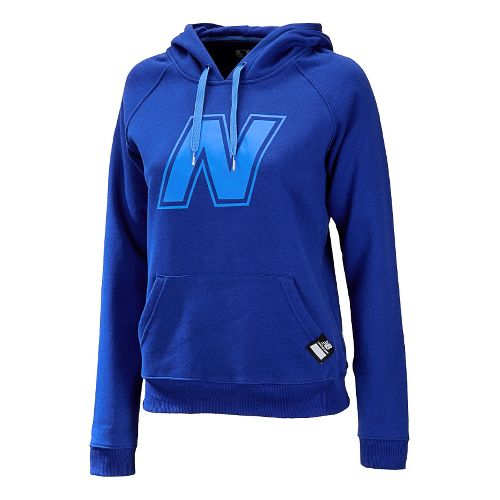 Womens New Balance Essentials Pullover Hoodie Warm-Up Hooded Jackets - UV Blue XXL
