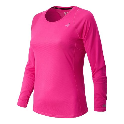 Womens New Balance Komen Accelerate Tee Long Sleeve No Zip Technical Tops - PinkGlo S ...