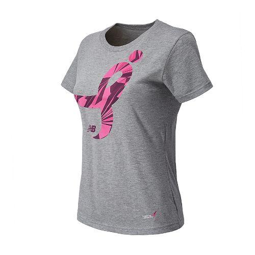 Womens New Balance Komen Ribbon Tee Short Sleeve Technical Tops - Athletic Grey XL