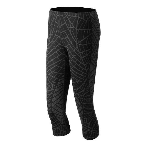 Womens New Balance Printed Spree Capri Tights - Black/Grey XS