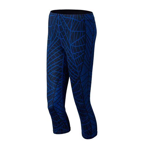 Womens New Balance Printed Spree Capri Tights - Marine Blue XS