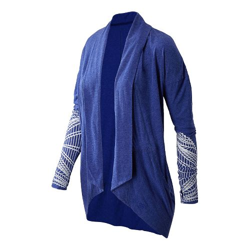 Womens New Balance Burnout Wrap Long Sleeve No Zip Technical Tops - Marine Blue L ...