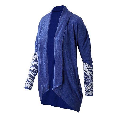 Womens New Balance Burnout Wrap Long Sleeve No Zip Technical Tops - Marine Blue S ...
