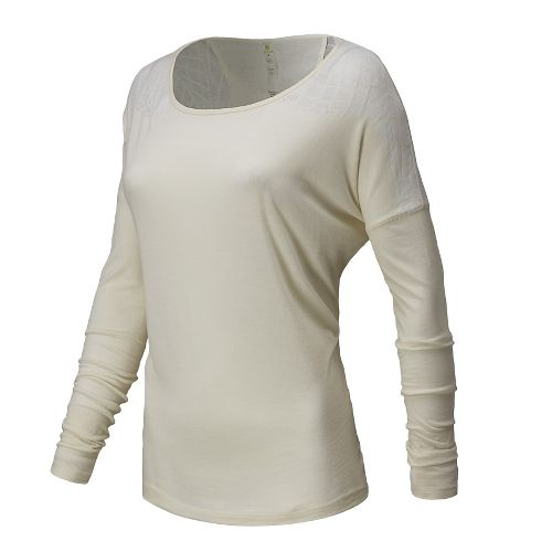Womens New Balance Dasha Tee Long Sleeve No Zip Technical Tops - Ivory M