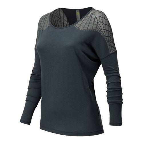 Womens New Balance Dasha Tee Long Sleeve No Zip Technical Tops - Lunar Rock S ...