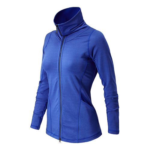 Womens New Balance Nirvana En Route Warm-Up Unhooded Jackets - Marine Blue L