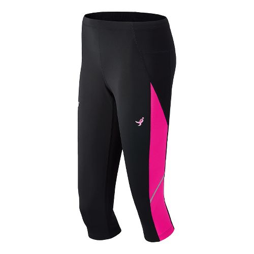 Womens New Balance Lace Up Accelerate Capri Tights - Black/PinkGlo XXL