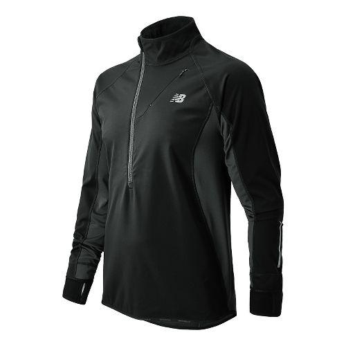 Mens New Balance Windblocker Long Sleeve 1/2 Zip Technical Tops - Black XL
