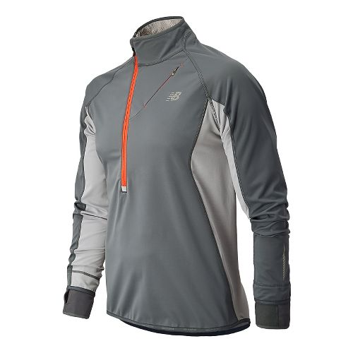 Mens New Balance Windblocker Long Sleeve 1/2 Zip Technical Tops - Lead S