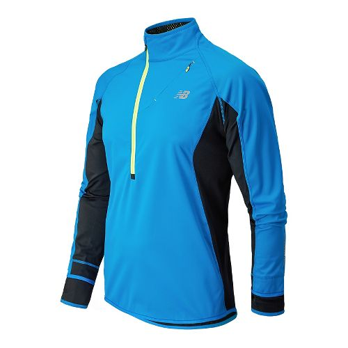 Mens New Balance Windblocker Long Sleeve 1/2 Zip Technical Tops - Laser Blue M