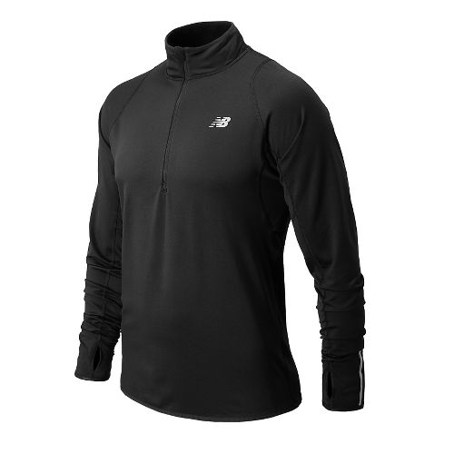 Mens New Balance NB Heat Long Sleeve 1/2 Zip Technical Tops - Black L